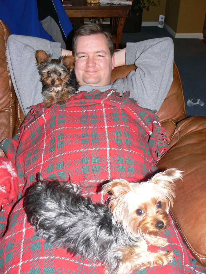 Buddy and Artie with Daddy - January 2010